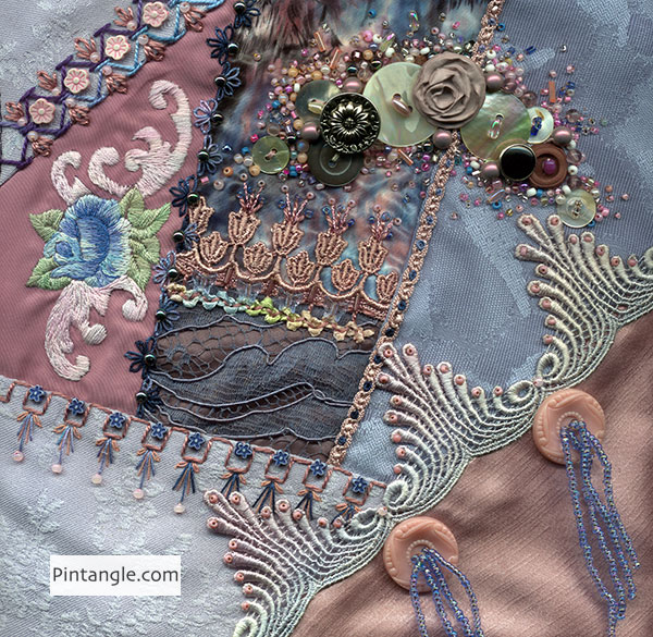 8 inch crazy quilt block Pintangle