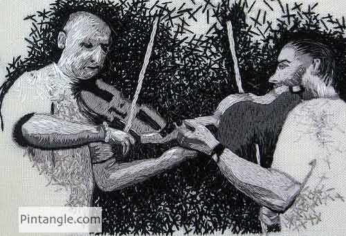 Fabric Postcard Dueling fiddlers