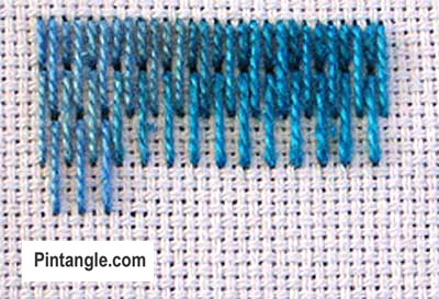 How to work long and short stitch tutorial step 2