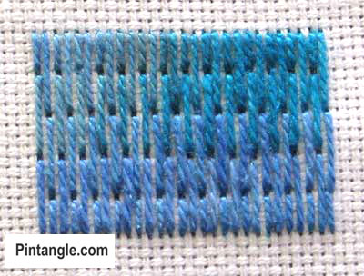 How to work long and short stitch tutorial step 3