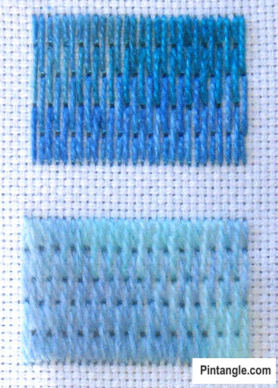 How to work long and short stitch tutorial step 4