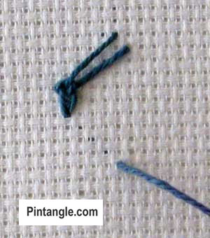 Zig Zag Spanish Knotted stitch tutorial step 8