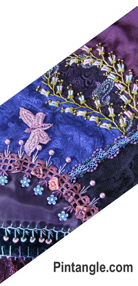 Blue purple diamond crazy quilt block