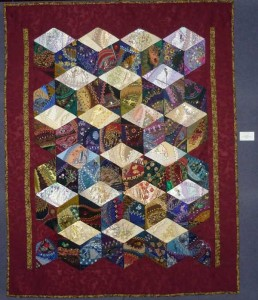 Diamond block crazy quilt