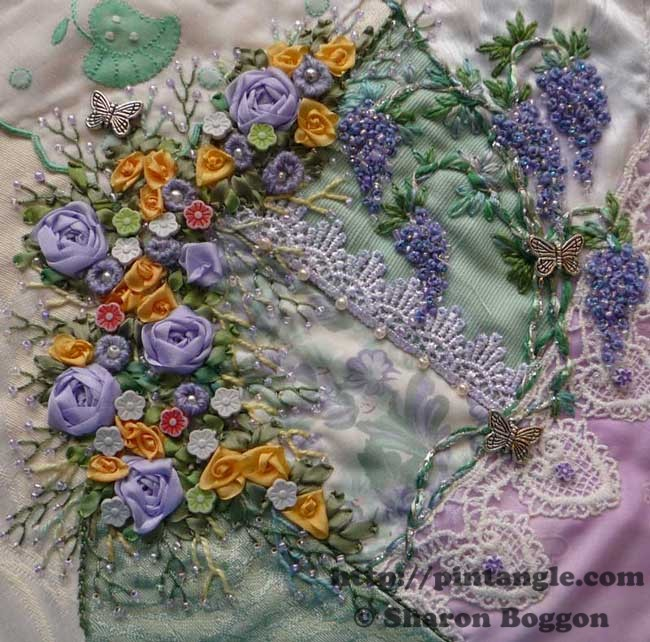 Work in Progress Wednesday: Lace crazy quilt block 6