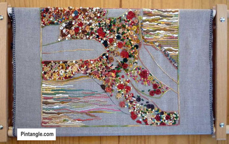hand embroidered file cover part 3 on frame