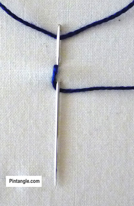 How to work Picot chain stitch tutorial step 1