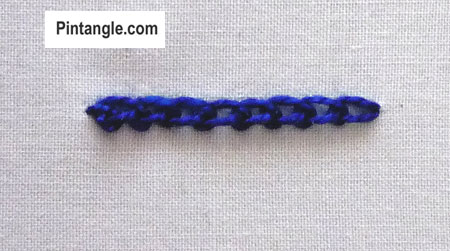 How to work Picot chain stitch tutorial step 4