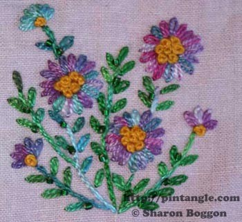free hand embroidered flower pattern