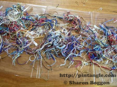 fabric from scrap threads step 1 - lay out threads