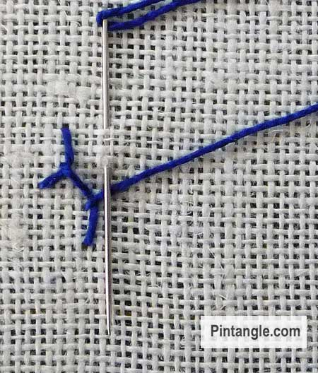 step by step illustrated stitch instructions for Cretan Stitch 3