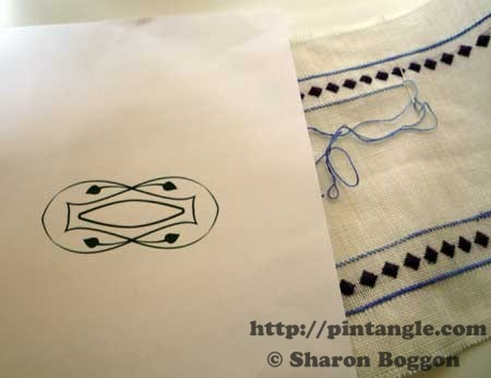 embroidery design printed out on paper