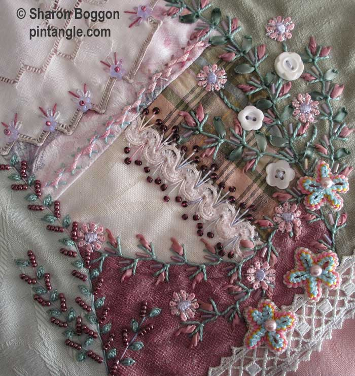 Work in Progress Wednesday: Lace crazy quilt block 20