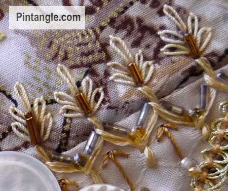 Sample of Cretan stitch on crazy quilting 10