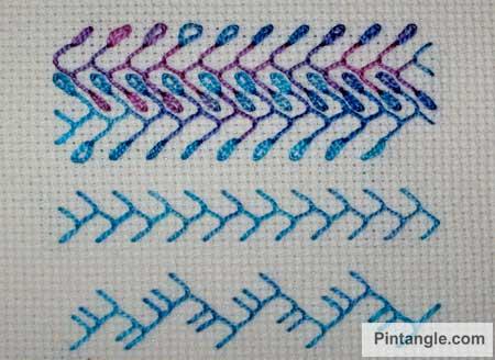 Feather stitch sample 3