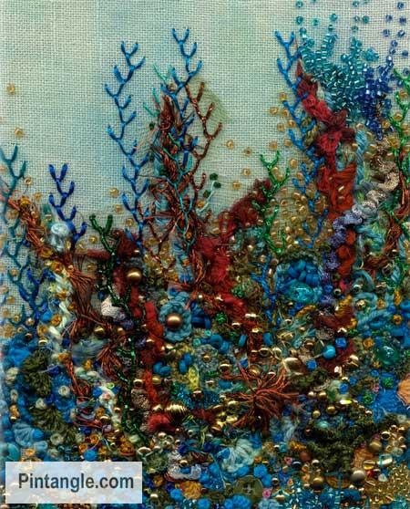 Feather stitch sample underwater marine scene