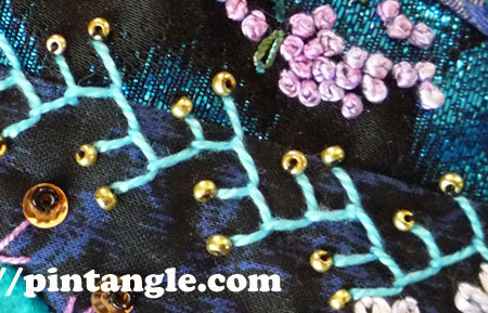Feather stitch sample on crazy quilting 2