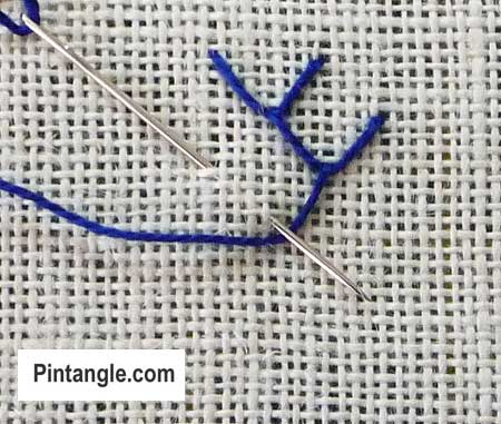 Step by step instructions for feather stitch 3