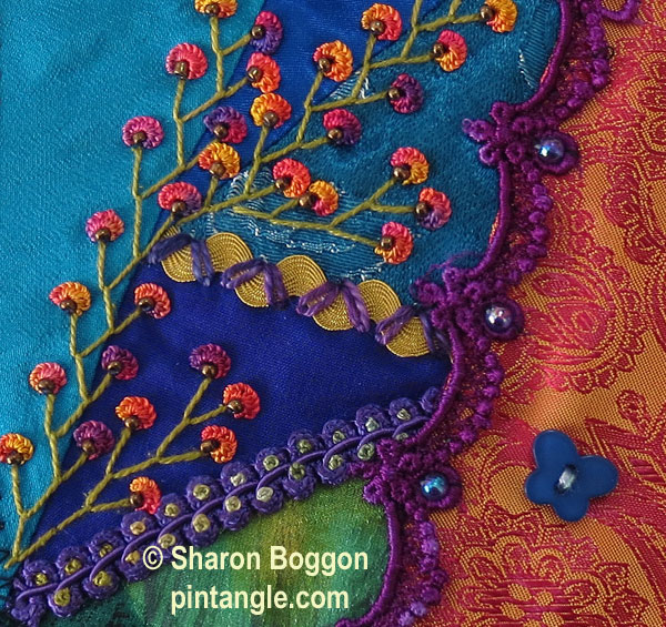 Feather stitch sample on crazy quilting 1