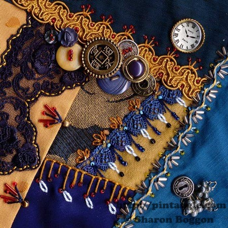 Crazy quilt block 55 on I dropped the buttonbox quilt