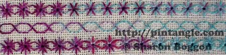 back stitch and algerian eye stitch sample