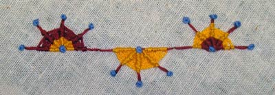 sample of whipped woven wheel stitch