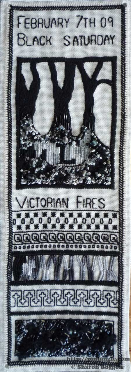 recording the Victorian fires on my stitch roll sampler