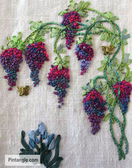 ideas for French Knots sample 2 wisteria