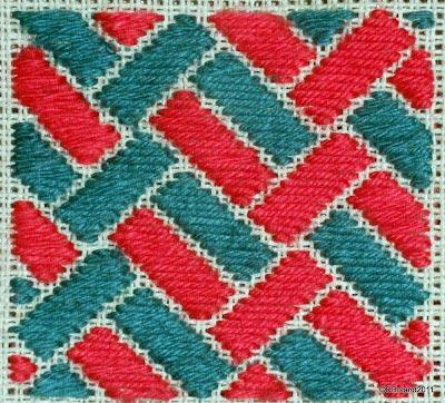Satin stitch hand embroidery sample