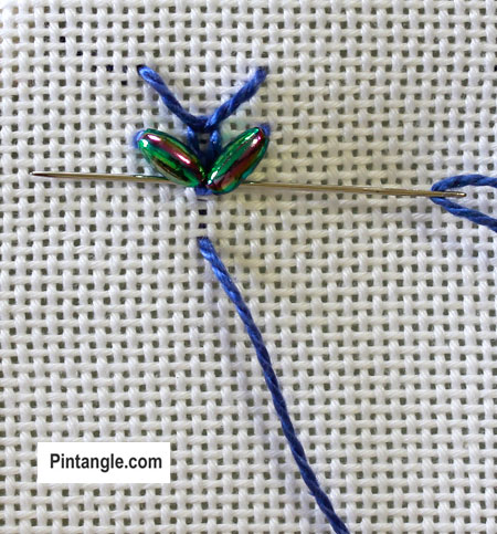 Step by step how to work Beaded Wheatear stitch 4