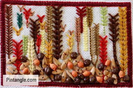 Wheatear stitch sample1