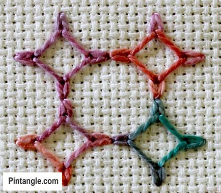 Wheatear stitch sample 3