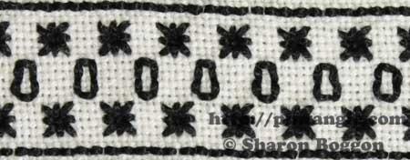 detail of needlework sampler