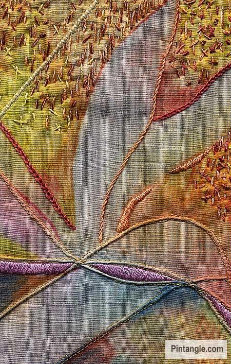 Raised satin stitch sample