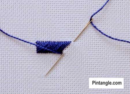 step by step how to work diagonal satin stitch 2