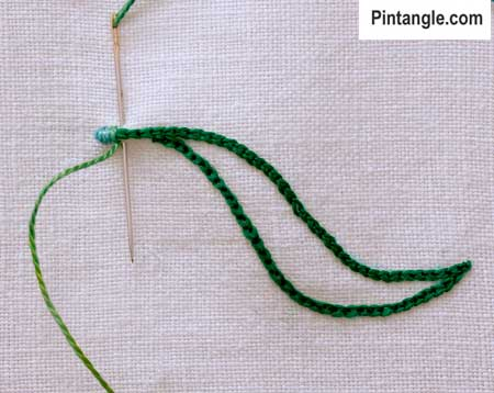 step by step how to work outline satin stitch 3