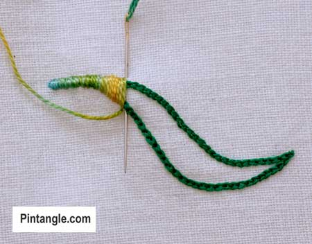 step by step how to work outline satin stitch 4