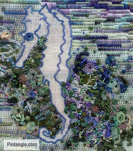 Pulled Satin Stitch sample 3