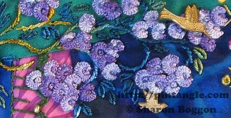 stem stitch and cast on stitch hand embroidery sample