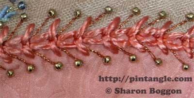 wheatear stitch hand embroidery sample