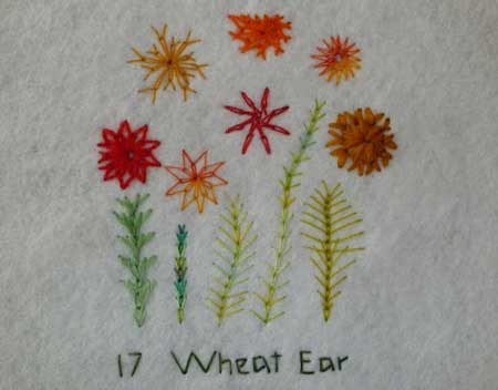 wheatear stitch hand embroidery sample on felt