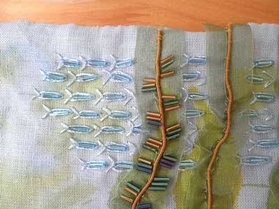 wheatear stitch hand embroidery sample