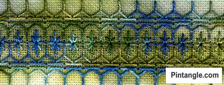 Half Chevron stitch sample for stitch dictionary