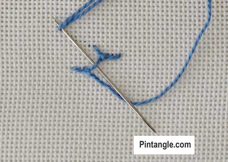 step by step illustrated instructions for Knotted Cretan Stitch 7