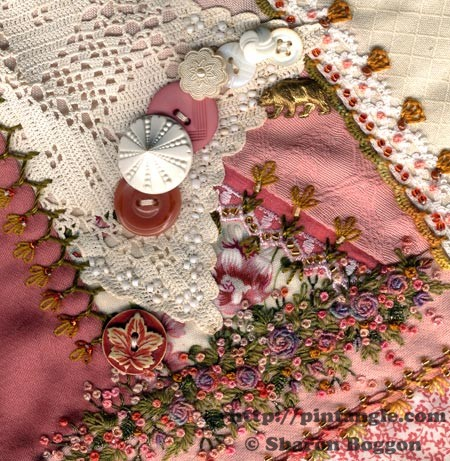 Block 57 on I dropped the button box crazy quilt