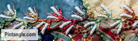Bullion knot stitch sample 1
