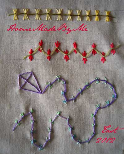 hand embroidered sample of butterfly chain stitch