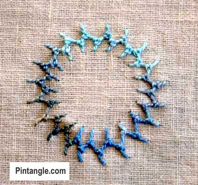 Knotted Cretan Stitch hand embroidery sample5