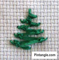 Knotted Cretan Stitch hand embroidery sample 3
