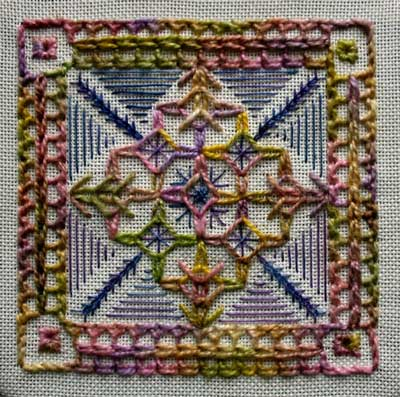 sample of hand embroidered half chevron stitch